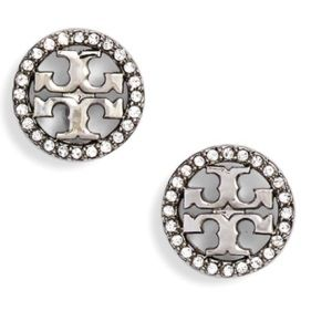 Tory Burch crystal logo silver stud earrings
